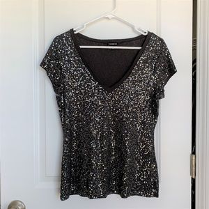 Express Sequin Gray V-Neck Tee